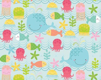 FLANNEL SALE! Adorable fabric with Fish, Whales, Jellyfish, Octopus on Sea Blue Background ~ Novelty Flannel by the Yard ~ Riley Blake