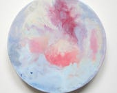 Pink Moon, encaustic art, full moon, abstract encaustic, moon painting, moon circle, circle art, libra