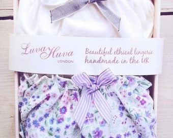2x Panties Gift Box/ lingerie set/ ethical & sexy underwear, organic cotton, bridesmaid favor, cream, frilly, bridal, floral, plus size