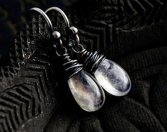 Drop Earrings, Moonstone Earrings, Gemstone Earrings, Moonstone Jewelry, Dangle Earrings, Sterling Silver, Rainbow Moonstone, PoleStar