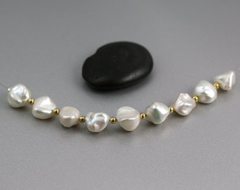 White Nugget Pearls - Set of 9 - White Pearls - 12mm