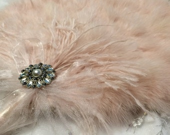 Blush Champagne Marabou Feather Fan with Tulle  for Vintage Great Gatsby, 20s weddings