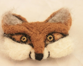 Felted Fox Pin, Felted Fox Brooch, Needle Felted Red Fox Brooch, Red Fox Jewelry #2475