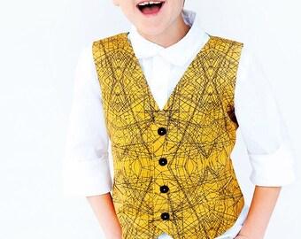 Boys Gold Engineer Drawing Vest - Mustard Yellow Vest - Boys Vest
