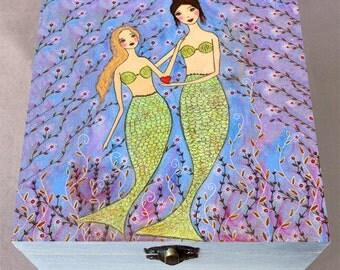 Mermaid Keepsake Box, Memory Box, Baby Keepsake Box, Mother Daughter Mermiad Large Keepsake Box, Large Wooden Box, Gift for Mom