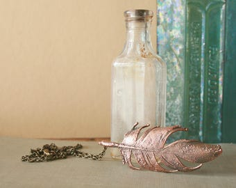 Electroformed Feather Necklace - Boho, Gypsy