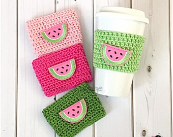 Coffee Cup Cozy. Watermelon Beach Cup Cozy. Beachy Coffee Cozy. Summer Picnic Party Favor. Independence Day Party gift. Gift under 10.