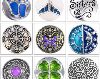 MERZIEs 18mm Snap U PICK ocean whale tail, family sisters heart, 4 leaf clover, flip flops, blue crystals insect butterfly -SHIPs from USA