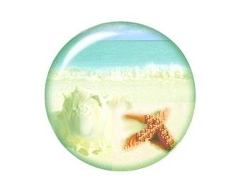 MERZIEs 18mm SNAP beach ocean starfish sea shell waves button - SHIPs from USA