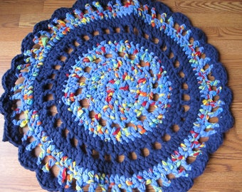 Colorful Blue Round Doily Style Fleece Rug, Rug, Round Rug, Doily Rug, Lacey Rug, Blue Rug, Crochet Rug, Thick Rug, Floor Mat