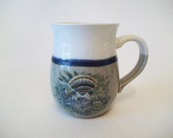 Otagiri Sea Shell Mug, OMC Stoneware Pottery Cup, Starfish, Sand Dollar Design, Japan 1980s