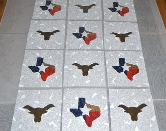 Set of 12 Texas State and Longhorns Iron-on Fabric Appliques for Quilts & Clothing