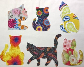 Set of 6 Lg Mixed Kitty Cat Fusible Iron-on Cotton Fabric Appliques