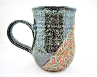 Handmade pottery mug, Large Ceramic mug, 22 oz. coffee mug in green and tan - In stock MDG1
