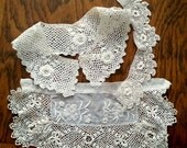 Irish Crochet Lace, collar, cuff, trim destash lot, handmade, vintage pieces early 1900s