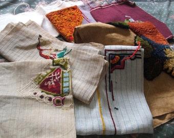 Vintage Supply Destash Lot Old Hooked Fabrics