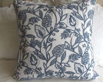 24x24 Navy on White decorative linen embroidered fabric with piping