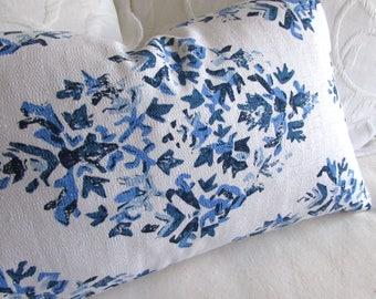 Blythe Pacific blue decorative lumbar pillow with insert 12x20