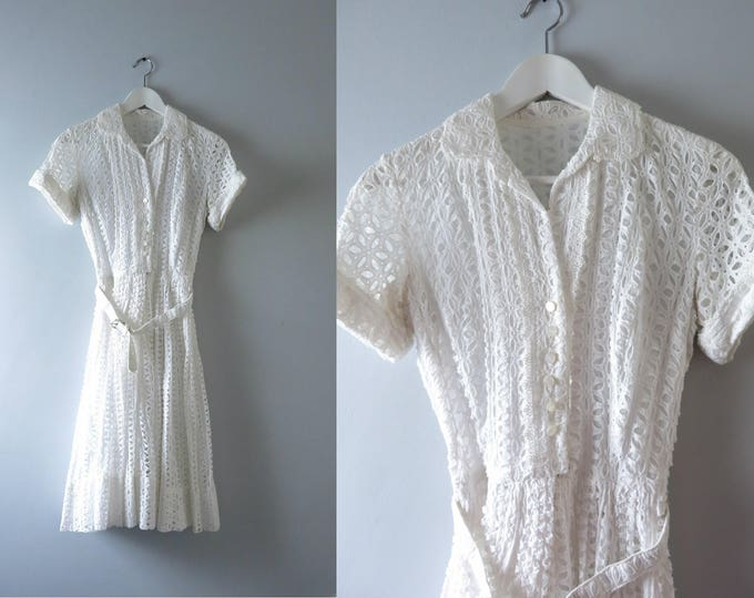 Vintage White Summer Dress   1960s White Cotton Eyelet Summer Dress XS   Vintage Bridal Dress
