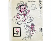 Vintage Sewing Pattern - DOLL CLOTHES - McCalls Sample Pattern / Baby Doll Outfit Pattern / Doll Dress and Bonnet / 20 inch Dolls