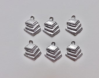 Book charms 6 silver pewter lead-free made in USA stack of books