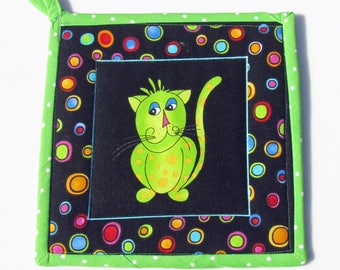 "Cool Cats"", quilted potholder, cooking potholder, handmade potholder, hotpad, kitchen potholder, fabric potholder, insulated potholder"