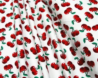 Jersey Little Darling Cherries on white 0.54yd (0,5m) 003199