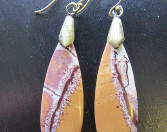 Earrings Rhyolite Sonoran Dendritic Gemstone Beautiful Drop with Oxidized Handcrafted Earwires Canyon Spirit I