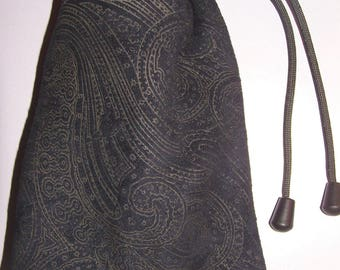 1 of a Kind Paisley Embossed Navy/Taupe Leather Draw Cord Pouch, Fabric Lined