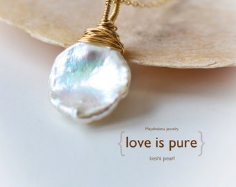 Love is Pure - Simple White Keshi Pearl Gold Filled Wire Wrapped Necklace - Wedding Bridal