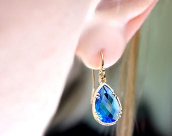 May birthstone jewelry,  Birthstone Earrings, Small Drop Earrings, Teardrop Earring, Dangle Earrings - pick your color