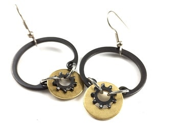 Hoop Dangle Earrings Brass Hardware Jewelry Industrial Eco Friendly