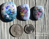 Silk ....  glass cabochons ... artsy, handmade glass designer cabochons by Mikelene Growing Edge Glass