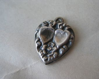 Puffy Heart Flower Sterling Charm Vintage Silver 925 LB