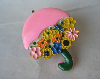 Flower Umbrella Brooch Pink Blue Yellow Green Vintage Pin Spring