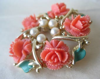 Flower Rose Coral Orange Pearl Brooch Gold Green Plastic Vintage Pin