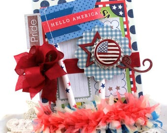 vintage 4th of july card-HELLO AMERICA-memorial day flag day greeting