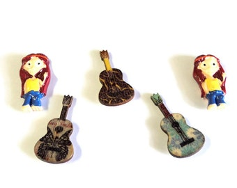 Hippies with Guitars Magnet Set, 5 Pieces, Handmade, Upcycled Wooden Buttons