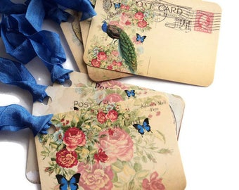 8 Gift Tags, Peacock Post Card Tags, Flowers Butterflies Merchandise Tags, Party Favor Tags