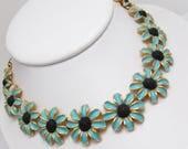 Judy Lee Flower Choker Blue Enamel Daisy Necklace Vintage Jewelry N7774
