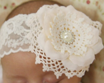 Baby Toddler Girl ivory or white christening headband flower girl headband vintage headband flower headband