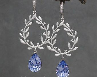 Laurel Wreath Earrings. Purple Crystal Earrings,  Swarovski Jewelry for Brides.  Bridesmaid Gift, Violet Rhinestone Earrings Tanzanite