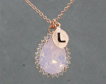 Pink Opal Necklace, Rose Gold Necklace, Teardrop Necklace, Bridesmaid Necklace -  Initial Jewelry - Personalized Necklace - Bridesmaid gift