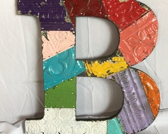 """1890's Reclaimed  Tin Ceiling Wrapped 16"""" Letter """"B"""" Patchwork Mullti Color Metal Mosaic Wall Hanging 50-17i"""