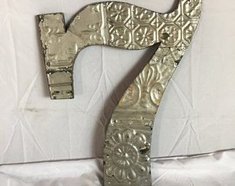 """Reclaimed  Tin Ceiling Wrapped 16"""" Number '7' Patchwork Metal Mosaic Wall Hanging Silver Metal 54-17i"""