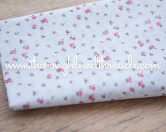 Adorable Pink Roses - Vintage Fabric New Old Stock 60s Shabby Chic