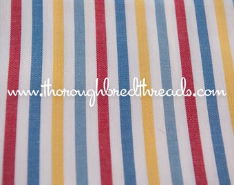 Fun Happy Stripes - Vintage Fabric 70s New Old Stock Vertical Blue Yellow Red