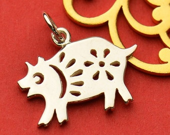 The Pig Necklace - Solid 925 Sterling Silver Chinese Zodiac Year of the Pig Charm - Insurance Included