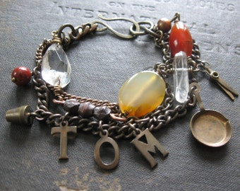 Tom The Collector - Upcycled Salvaged Scrappy Bracelet with Found Bits and Mixed Stones