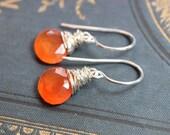 Carnelian Earrings Sterling Silver Earrings Wire Wrapped Rustic Jewelry Orange Gemstone Earrings